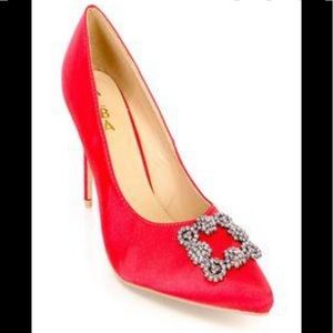 Alba Ricky 7 satin red heel pump 8